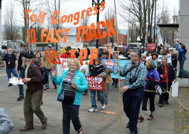 Fair Trade or Bust Fast Track Protest