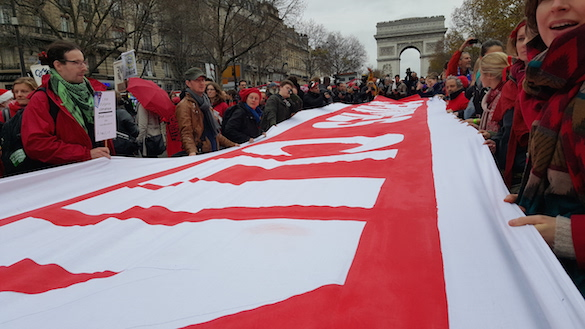 Dec. 12, 2015 climate change demonstration at the Champs       Élysées, Paris. (Photo by Jeff Johnson)